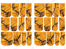 24 WATER SLIDE NAIL ART DECALS * REALTREE INSPIRED BLAZE CAMO * FULL NAIL COVER