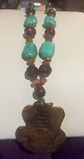 NEW, WOMEN'S TURQUOISE AND AMBER BEAD NECKLACE WITH BROWN CARVED BONE PENDANT