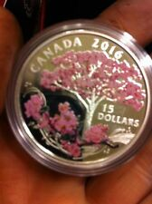 Canada - 2016 'Cherry Blossoms' Colorized Proof $15 Silver Coin w/ Box & Coa