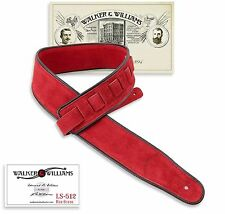 Walker & Williams LS-512 Premium Red Suede Guitar Strap