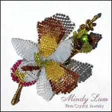 Swarovski Crystals Orchid Pin Brooch by Mindy Lam