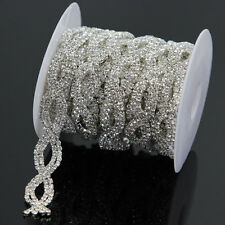 1 Yd 14mm Clear Crystal Rhinestone Sewing Chain Trim Bridal Costume Belt Decor