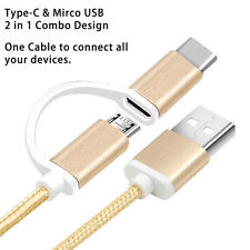 2in1 Combo Micro USB 2.0&3.1 Type C Fast Charger Charging Data Cable for Android