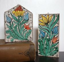 Fortunata Italy Pottery Wall Hanging Tile Art SET Majolica Clay Flower VTG Decor