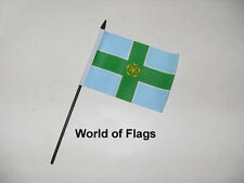 """DERBYSHIRE SMALL HAND WAVING FLAG 6"""" x 4"""" Derby County Crafts Table Desk Display"""