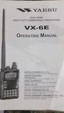 MANUALE IN INGLESE ORIGINALE  istruzioni d'uso per YAESU VX-6E