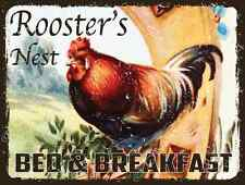Roosters Nest Bed and Breakfast Metal Sign, Rustic Country Cottage, Inn Decor