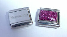 PURPLE GLITTER RECTANGLE 9mm Italian Charm + 1x Genuine Nomination Classic Link