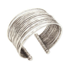 Silver Tone 18-Line Bracelet Thin Metal Bunch Hammered Wide Cuff