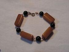 ...Vintage Gold Tone,Green & Amber Bakelite(tested) Bars & Beads Bracelet...