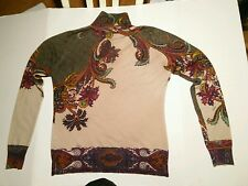 ETRO MILANO Ivory Paisley Print Silk/Cashmere Blend Turtleneck Sweater 40/US 4-6