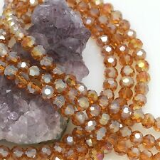 72 pcs 8mm Chinese Crystal Glass Loose Beads Round Faceted Dark Citrine with AB