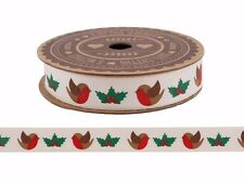 100% Cotton ROBIN & HOLLY CHRISTMAS Ribbon Gift Wrap 5m Craft Nordic Red White