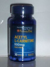 ACETYL L-CARNITINE 500mg *RAPID FOOD METABOLISM TO ENERGY* FREE FORM 30 CAPS