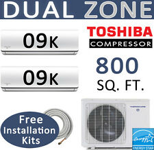 18000 BTU 24 SEER ENERGY STAR Dual Zone Ductless Mini Split: 2 x 9000, 15' Kits