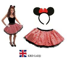 Minnie Mouse TUTU + SCHLEIFE OHREN STIRNBAND rot weiß Polka Dot Rock Fancy Dress