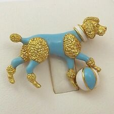 18K Gold Enamel 3D French Poodle Show Circus Dog with Ball Brooch Pin 8.3gr