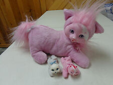 KITTY  SURPRISE PLUSH  PINK MAMA KITTY CAT WITH 2 BABY KITTENS  EUC