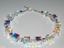 Stunning Clear AB Crystal Cube Bracelet