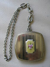 Antique Art Deco Silver Gold Yellow Guilloche Enamel Pink Floral Compact FMCo #2