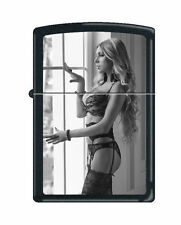 Zippo Lighter: Sexy Girl Showing Off - Black Matte *Sexy Pin-up Girl*