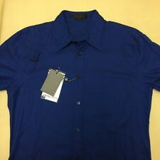 NEW ALEXANDER MCQUEEN METALLIC BLUE  HARNESS SHIRT LS BUTTON Size 50 NEW/ TAGS