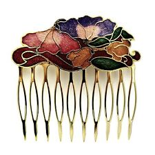 Cloisonne Hair Comb Red Flowers Painted Enamel Vintage Style Updo Hair Clip Pin