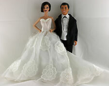 White Floral Wedding Set White Long Gown and Black Tux For Ken