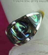SWEET ABALONE slightly domed Sterling Silver 0.925 Estate BAND RING size 7
