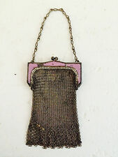 Antique Whiting & Davis Metal Mesh Handbag Purse Enamel Trim