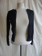Ladies Cardigan - Zara, size S, black, cotton, button up, very faded/worn - 0211