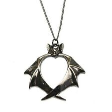 Veritas Bat Heart Pendant Necklace Carpe Noctum Anne Stokes CA11 Pewter