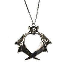 Veritas Bat Heart Pendant Necklace Carpe Noctum Anne Stokes CA11 Pewter