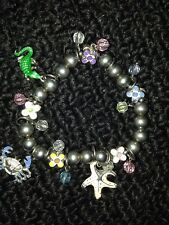 Silver Bead Nautical Charm Bracelet Starfish Crab Floral Colorful Glass Beads