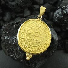 Handmade Ottoman Designer Coin Pendant 22K Gold Over 925K Sterling Silver