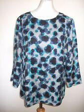 LADIES BODEN BLUE TURQUOISE GREY SILK BLEND LONGSLEEVE TOP SIZE 14