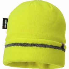 Portwest B023 Reflective Trim Knit Beanie Hat Warm Thinsulate Lined Hi Vis