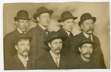 Crew from fishing boat all cleaned up for formal picture  antique snapshot photo