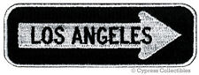 LOS ANGELES ONE-WAY SIGN EMBROIDERED IRON-ON PATCH applique CALIFORNIA ROAD new