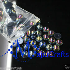 1800pcs Black AB 1.5mm Flat Back Half Round Resin Pearls Nail Art Gems C13