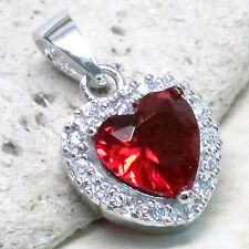 SPECIAL SALE BIN $9.99 CHARMING HEART 2 CT RUBY 925 STERLING SILVER PENDANT