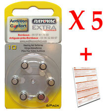 30 hearing aid batteries, Rayovac size 10 - A10