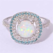 Amazing  Fire White Opal  White & Blue  Topaz   Ring 925 silver Size 10