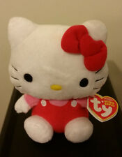 Ty Beanie Baby ~ HELLO KITTY (RED OVERALLS) ~ MINT with MINT TAGS (STICKER)