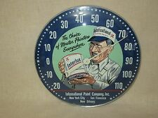 "MINT - RARE 1940's ""INTERLUX PAINT"" -  GLASS FACED - PAM ADVERTISING THERMOMETER"