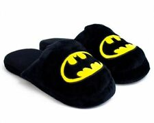 DC COMICS BATMAN LOGO BLACK PLUSH Slippers SIZE MEDIUM