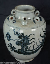 Ming / Qing Blue White Four Toe Dragon Porcelain Pot with Spout Jar