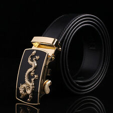 Fashion Men's Black Genuine Leather Belt Automatic Buckle Waist Strap,#dragon