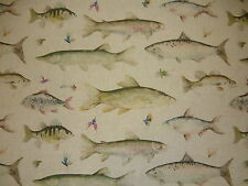 VOYAGE RIVER FISH LARGE LINEN COUNTRY 3 CURTAIN FABRIC ANGLER FISHING FISHERMAN
