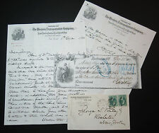 Western Transportation Co NY Central Railroad Cover, Bank Check, Letters 1879